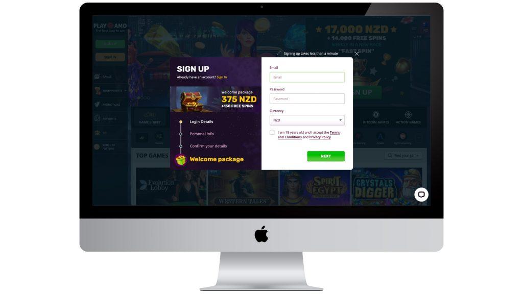 PlayAmo Sign Up
